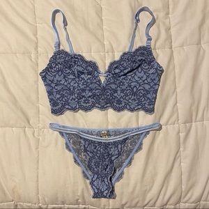 Free People Intimately Blue Lace Lingerie Set